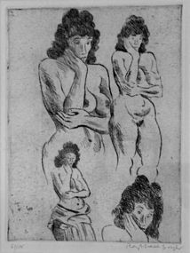 "RAPHAEL SOYER ""FIGURE STUDIES"" ETCHING 1984"