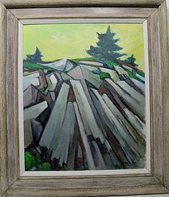 """G RALPH SMITH """"ROCK PILE"""" OIL ON BOARD 1960'S"""