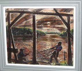 """NORTHAM ROBINSON GOULD """"CASTING THE NETS"""" 1946"""