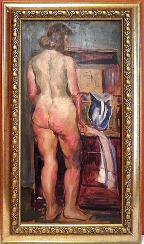 JACQUES KOSLOWSKY STANDING NUDE ORIGINAL OIL PAINTING
