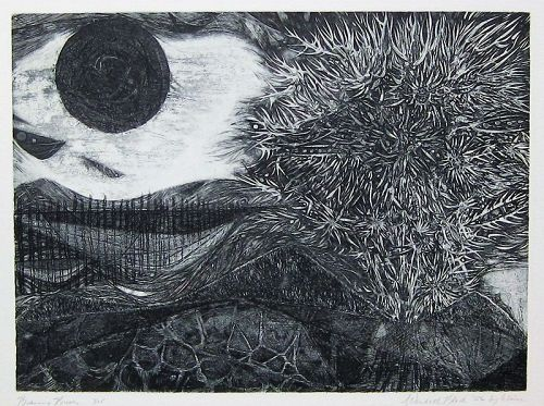 "WENDELL H. BLACK ""BURNING BUSH"" ETCHING  1956"