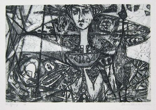 "WENDELL H. BLACK ""THE OFFERING"" DEEP ETCH ON COPPER  1951"