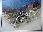 """JUN'ICHIRO SEKINO """"CITY OF TOLEDO"""" ORIGINAL WOODBLOCK"""