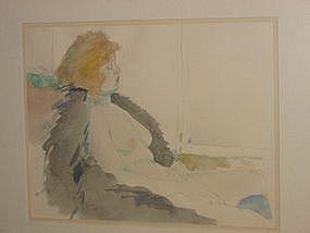 """Jack Schnitzius, """"Girl with Fur Coat"""", watercolor, 1977"""