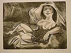 """William Gropper, """"Duchess"""", original etching"""