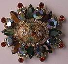 Juliana Stipple cab coral gold splattered cabochon pin