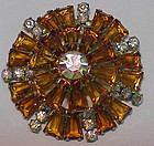 Juliana keystone Topaz  tapered bagettes  brooch -1958