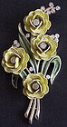 Trifari enamel rhinestone yellow roses brooch