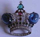 Trifari 'Alfred Philippe' sterling sapphire crown pin