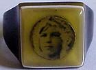 Art Deco celluloid portrait ring /prison ring