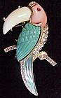 Lucite rhinestone enamel toucan-Hattie Carnegie / KJl