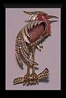 Hattie Carnegie enamel rhinestone heron brooch