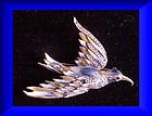 CoroCraft sterling blue hookbilled bird of Paradise pin