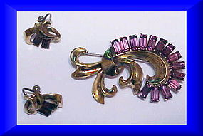 Boucher Sterling vermeil amethyst brooch & earrings