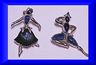 Trifari dancer brooches -lucite