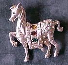Trifari style & period Sterling carousel Horse Pin