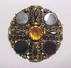 Scottish blood stone, brass & cairngorn brooch
