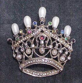 Castlecliff sterling vermeil crown brooch,faux teardrop