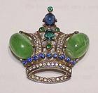 Trifari 'Alfred Philippe' sterling green stone crown