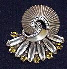 Boucher  PHRYGIAN cap sterling rhinestone brooch