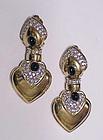 Ciner spade shapes Clip Earrings clear rhinestones
