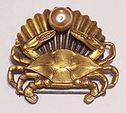Joseff Of Hollywood crab, shell and faux pearl brooch