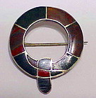 Scottish flush fitting agate panel brooch- Victorian