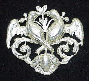 Cini sterling  love birds brooch