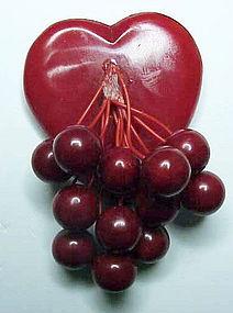 Bakelite heart pin with 12 berries