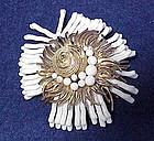 Cadoro sea shell,pearl and white coral brooch / pin