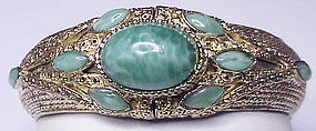 Hobe jade colored cabochons bangle bracelet