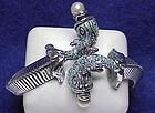 Har double fish wrap bracelet with faux pearls & enamel