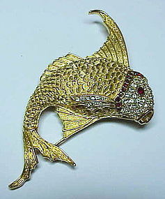 Ciner fish brooch  with great texture and rhinestones..