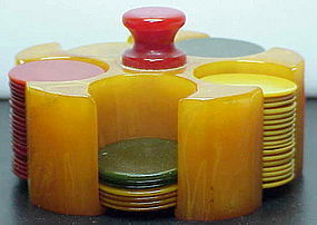 Bakelite poker chip set in apricot color-