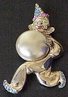 MARSLIEU sterling clown faux pearl ball & rhinestones
