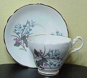 Regency blue floral Adderly  leaves scallop cup saucer