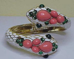 Enamel snake hinge bracelet coral green cabochons