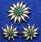 Trifari sunburst emerald & rhinestone brooch & earrings
