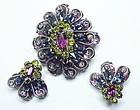Schreiner purple blue green dome brooch & earrings