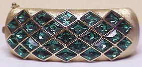 Trifari emerald Harlequin bangle bracelet
