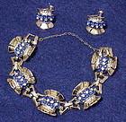 CoroCraft sterling vermeil sapphire & clear bracelet &
