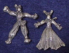 Sterling 1940s Nenette & Rintintin rag dolls brooches