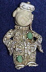 "Har full figure ""Smiling Buddha'  brooch white washed"