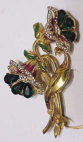 Corocraft vermeil enamel emerald double flower brooch