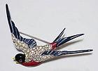 Trifari patriotic enamel & rhinestone bird brooch