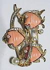 Carnegie triple coral fish playing in seaweed  brooch