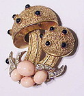 Trifari double Mushroom brooch with coral cabochons