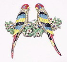 Coro enamel parakeets on floral branches duette