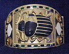 Egyptian Revival scarab & lotus wide cuff bracelet