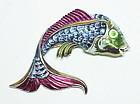 Coro metallic blue enamel fantail gold fish brooch